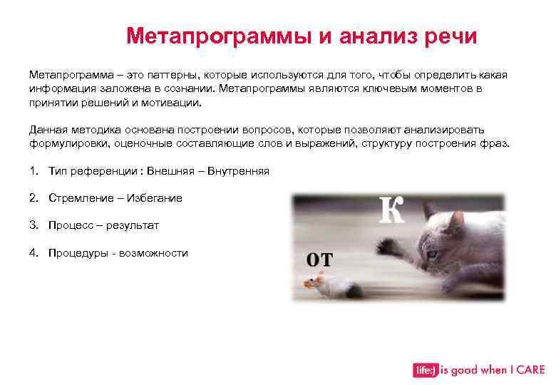 Метапрограммы и анализ речи Метапрограмма – это паттерны, которые используются для того, чтобы определить