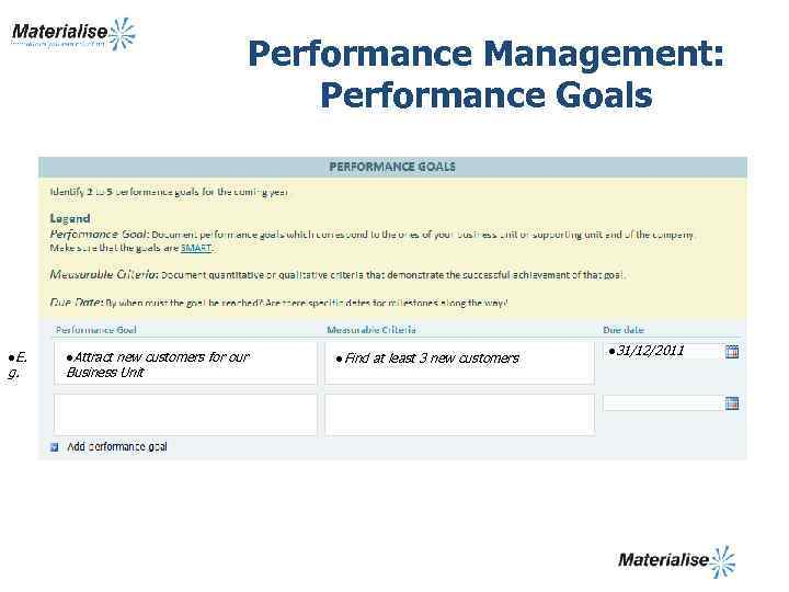 Performance Management: Performance Goals l. E. g. l. Attract new customers for our Business