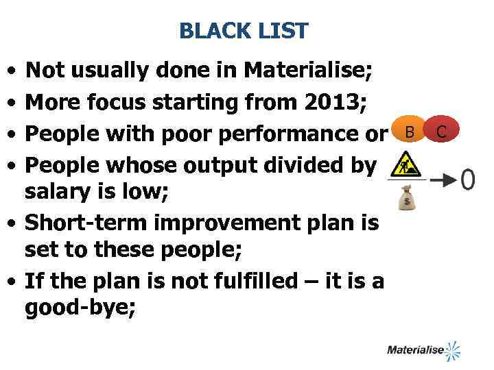 BLACK LIST • • Not usually done in Materialise; More focus starting from 2013;