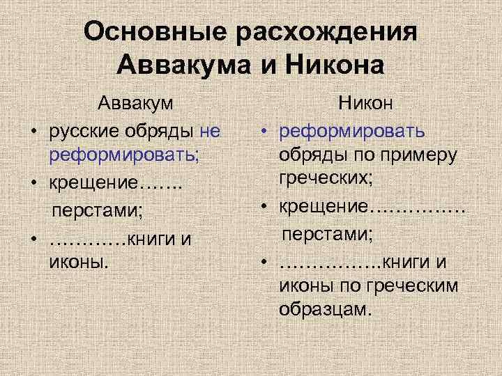 Основные расхождения Аввакума и Никона Аввакум • русские обряды не реформировать; • крещение……. перстами;