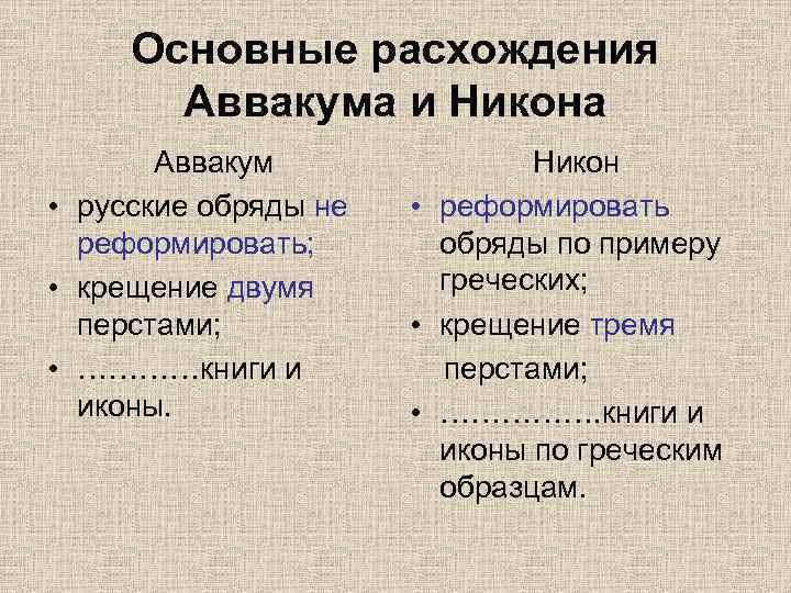Основные расхождения Аввакума и Никона Аввакум • русские обряды не реформировать; • крещение двумя