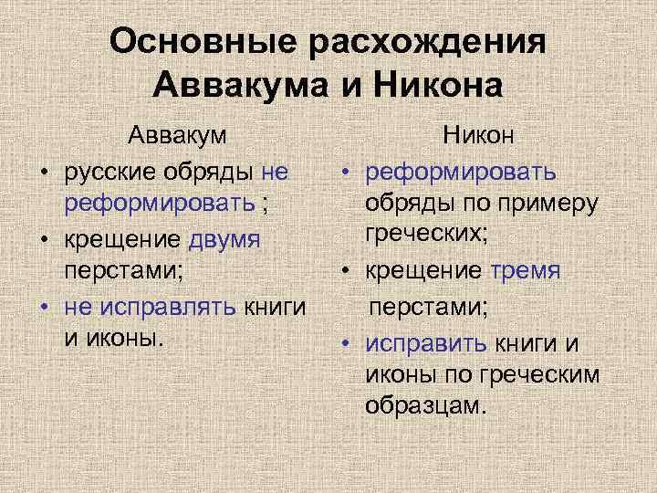 Основные расхождения Аввакума и Никона Аввакум • русские обряды не реформировать ; • крещение