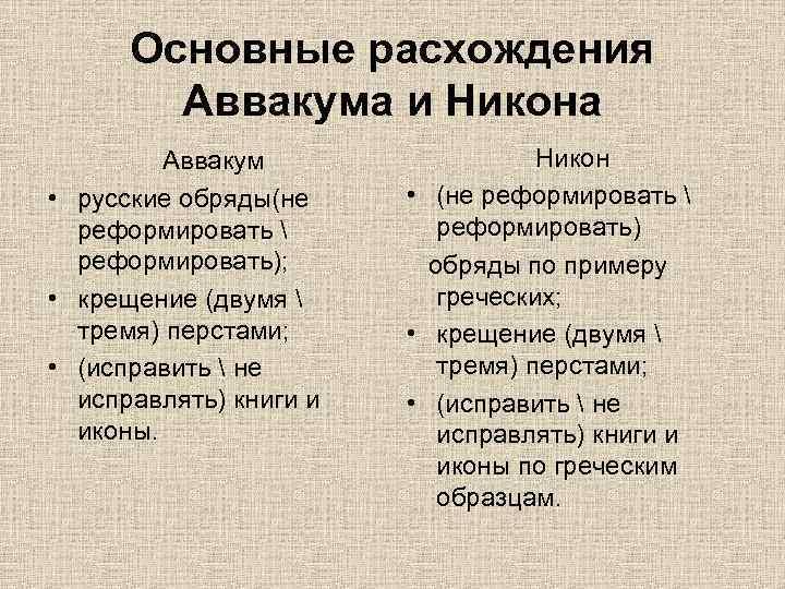 Основные расхождения Аввакума и Никона Аввакум • русские обряды(не реформировать  реформировать); • крещение