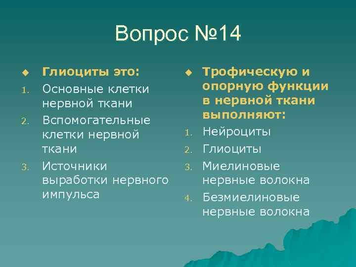 Вопрос № 14 u 1. 2. 3. Глиоциты это: Основные клетки нервной ткани Вспомогательные
