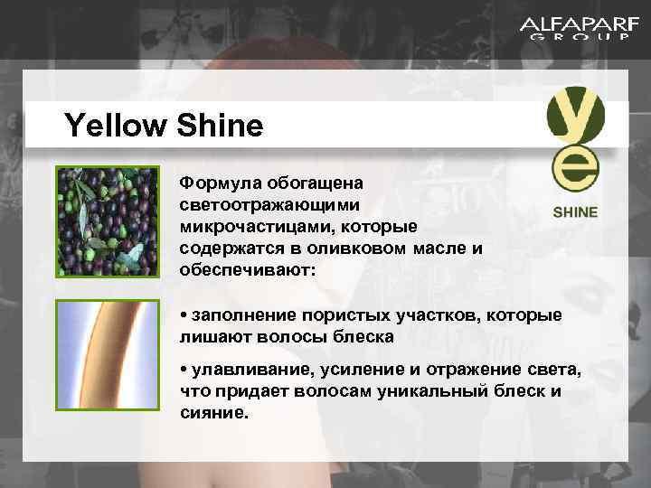 Yellow Shine Формула обогащена светоотражающими микрочастицами, которые содержатся в оливковом масле и обеспечивают: •
