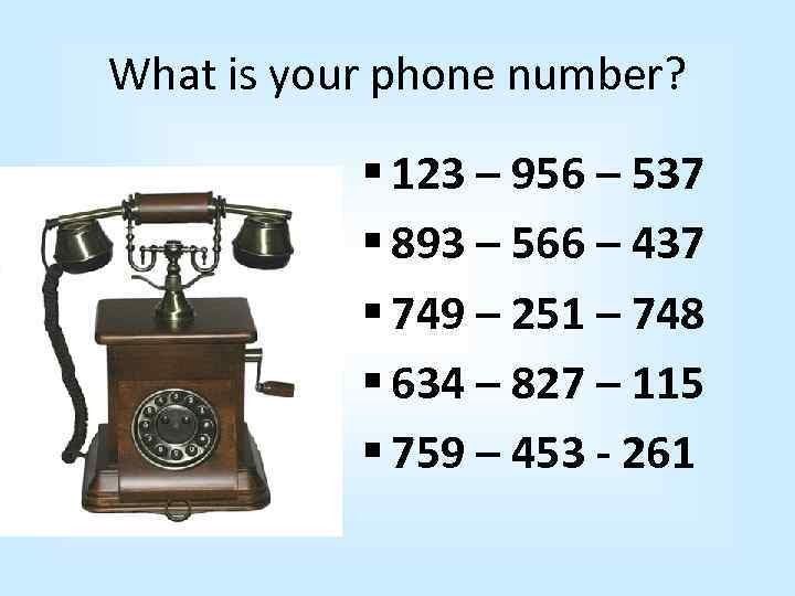 What is your phone number? § 123 – 956 – 537 § 893 –