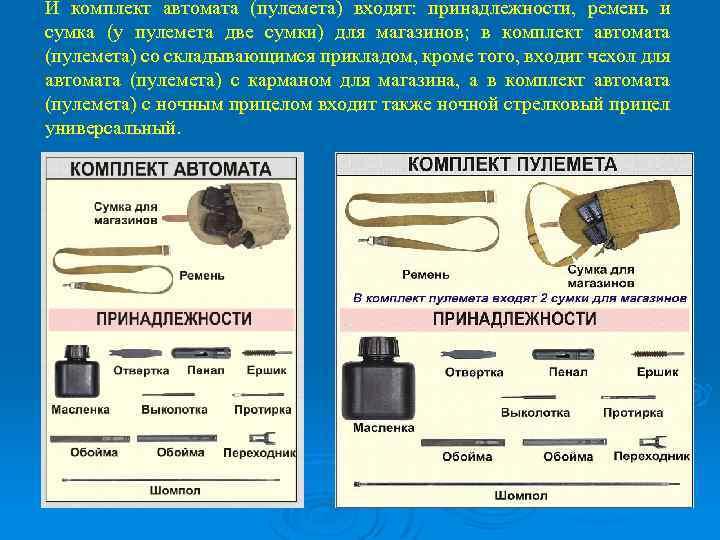И комплект автомата (пулемета) входят: принадлежности, ремень и сумка (у пулемета две сумки) для