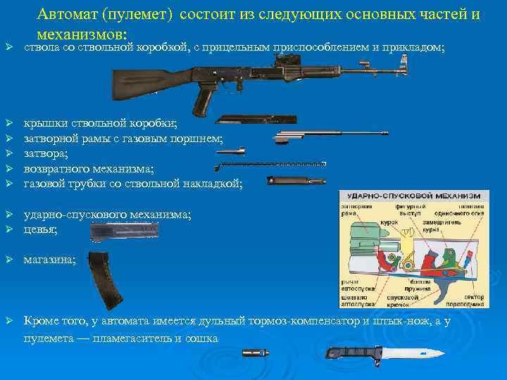 Автомат (пулемет) состоит из следующих основных частей и механизмов: Ø ствола со ствольной коробкой,