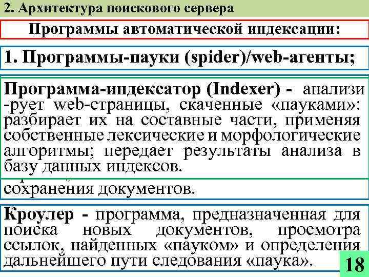 2. Архитектура поискового сервера Программы автоматической индексации: 1. Программы-пауки (spider)/web-агенты; 2. Кроулеры (crawler); (Indexer)