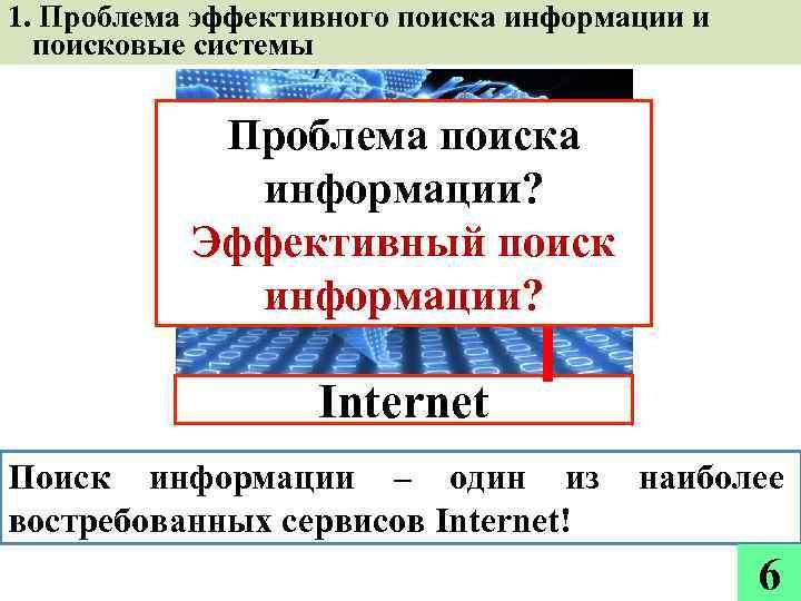 1. Проблема эффективного поиска информации и поисковые системы Проблема поиска информации? Эффективный поиск информации?