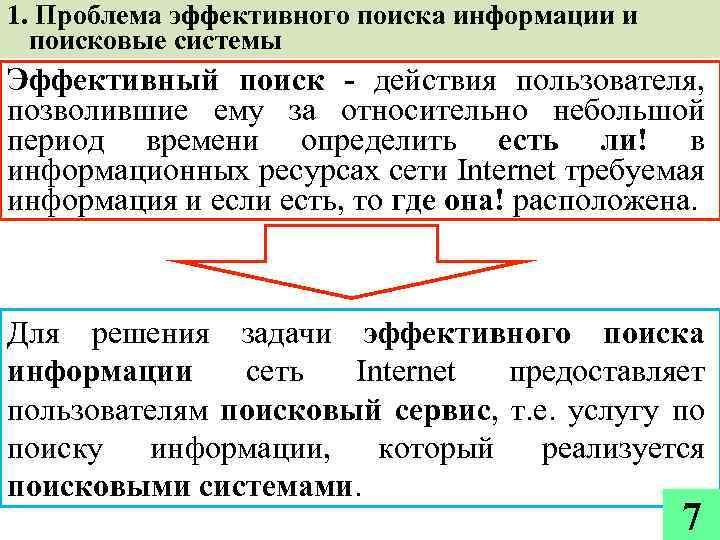 1. Проблема эффективного поиска информации и поисковые системы Эффективный поиск - действия пользователя, позволившие
