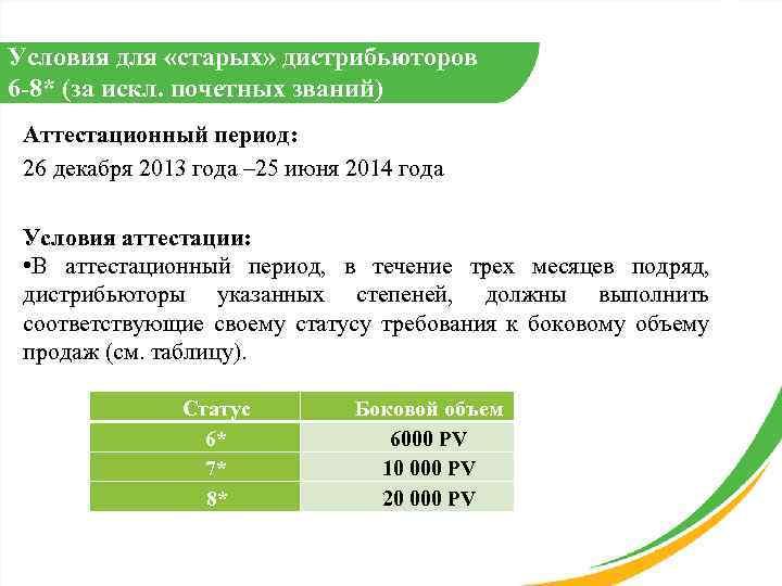 Условия для «старых» дистрибьюторов 6 -8* (за искл. почетных званий) Аттестационный период: 26 декабря