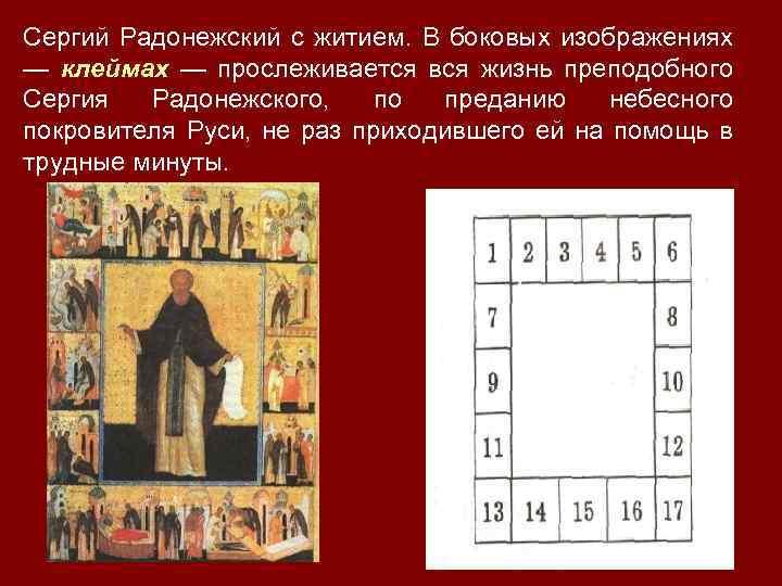 Сергий Радонежский с житием. В боковых изображениях — клеймах — прослеживается вся жизнь преподобного