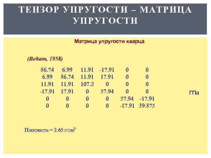 ТЕНЗОР УПРУГОСТИ – МАТРИЦА УПРУГОСТИ Матрица упругости кварца (Beham, 1958) 86. 74 6. 99
