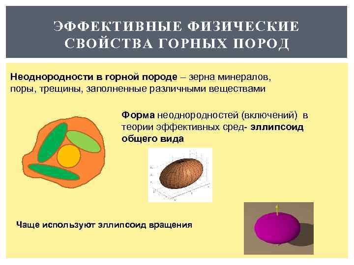 ЭФФЕКТИВНЫЕ ФИЗИЧЕСКИЕ СВОЙСТВА ГОРНЫХ ПОРОД Неоднородности в горной породе – зерна минералов, поры, трещины,