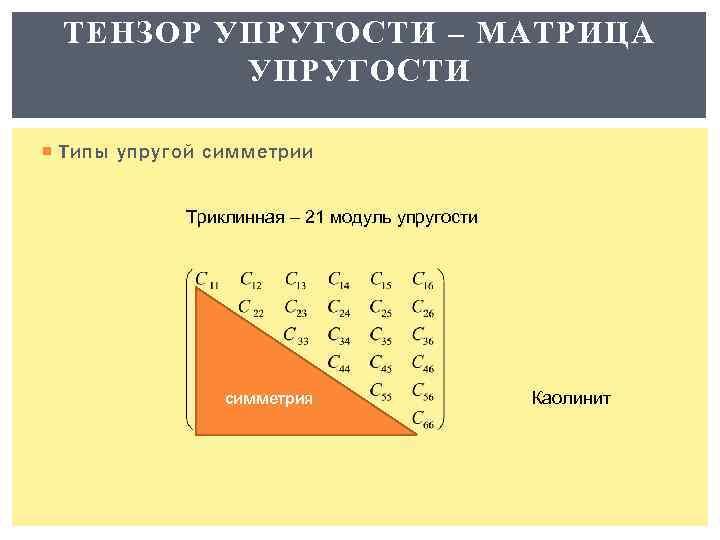 ТЕНЗОР УПРУГОСТИ – МАТРИЦА УПРУГОСТИ Типы упругой симметрии Триклинная – 21 модуль упругости симметрия