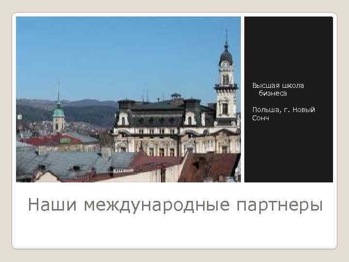 Высшая школа бизнеса Польша, г. Новый Сонч Наши международные партнеры