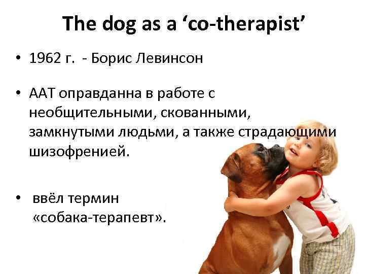 The dog as a 'co-therapist' • 1962 г. - Борис Левинсон • ААТ оправданна