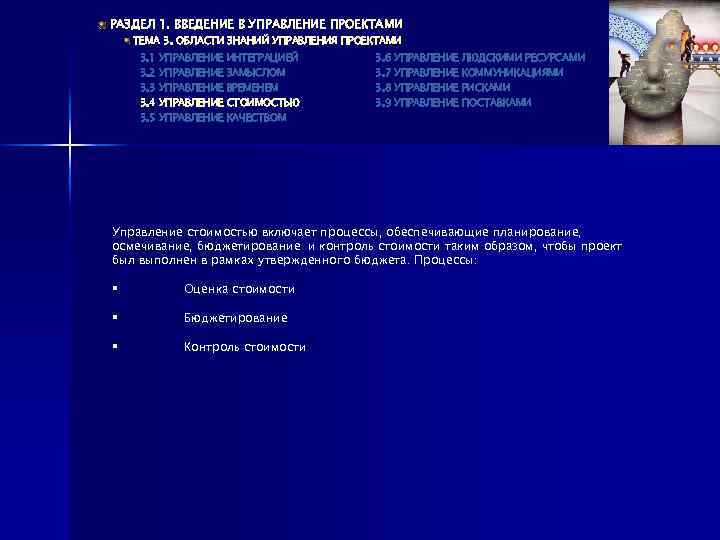 РАЗДЕЛ 1. ВВЕДЕНИЕ В УПРАВЛЕНИЕ ПРОЕКТАМИ ТЕМА 3. ОБЛАСТИ ЗНАНИЙ УПРАВЛЕНИЯ ПРОЕКТАМИ 3. 1