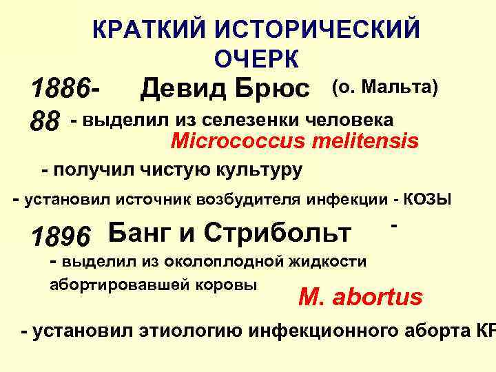 КРАТКИЙ ИСТОРИЧЕСКИЙ ОЧЕРК 1886 - Девид Брюс (о. Мальта) 88 - выделил из селезенки