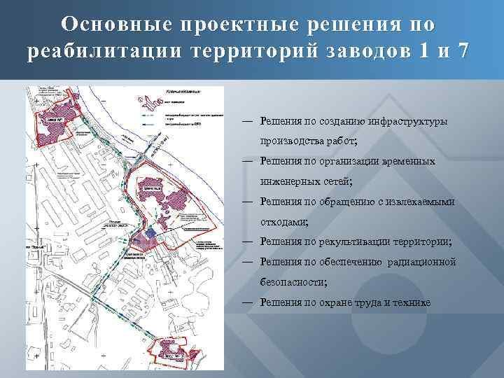 Основные проектные решения по реабилитации территорий заводов 1 и 7 ― Решения по созданию