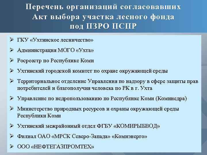 Перечень организаций согласовавших Акт выбора участка лесного фонда под ПЗРО ПСПР Ø ГКУ «Ухтинское