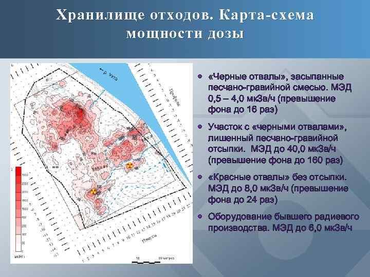 Хранилище отходов. Карта-схема мощности дозы «Черные отвалы» , засыпанные песчано-гравийной смесью. МЭД 0, 5
