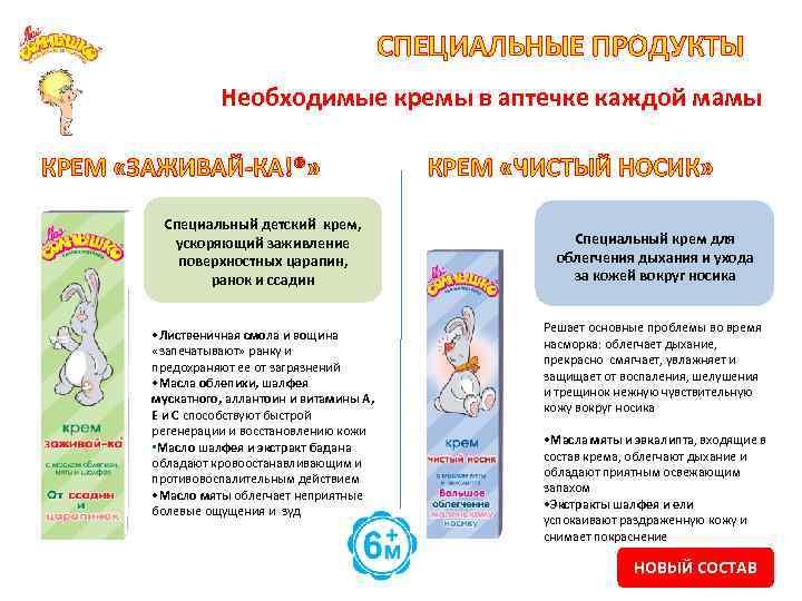 СПЕЦИАЛЬНЫЕ ПРОДУКТЫ Необходимые кремы в аптечке каждой мамы КРЕМ «ЗАЖИВАЙ-КА!®» Специальный детский крем, ускоряющий