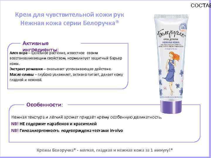 СОСТАВ Крем для чувствительной кожи рук Нежная кожа серии Белоручка® Активные ингредиенты: Алоэ вера