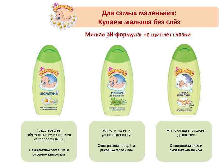 Для самых маленьких: Купаем малыша без слёз Мягкая p. H-формула: не щиплет глазки Предотвращает