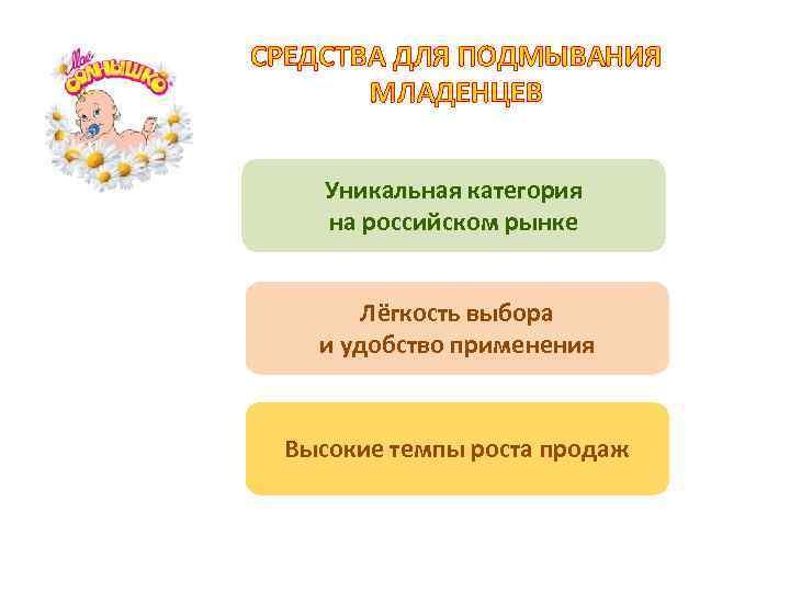 СРЕДСТВА ДЛЯ ПОДМЫВАНИЯ МЛАДЕНЦЕВ Уникальная категория на российском рынке Лёгкость выбора и удобство применения