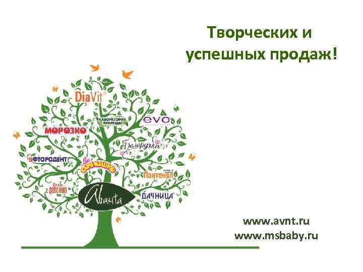 Творческих и успешных продаж! www. avnt. ru www. msbaby. ru