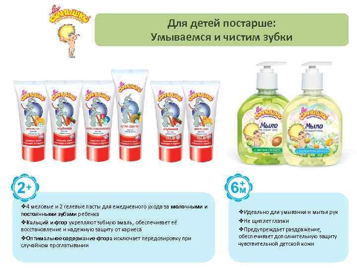 Для детей постарше: Умываемся и чистим зубки v 4 меловые и 2 гелевые пасты