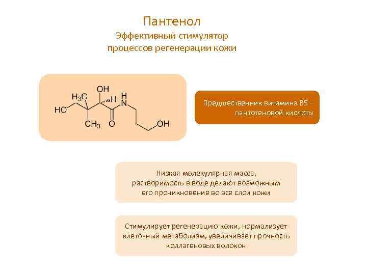 Пантенол Эффективный стимулятор процессов регенерации кожи Предшественник витамина В 5 – пантотеновой кислоты Низкая