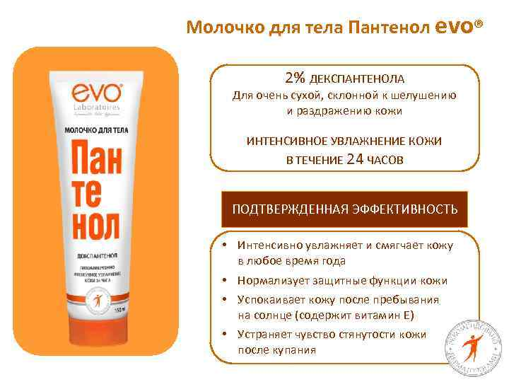 Молочко для тела Пантенол evo® 2% ДЕКСПАНТЕНОЛА Для очень сухой, склонной к шелушению и