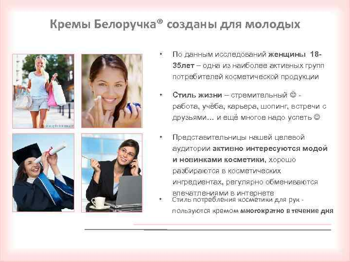 Кремы Белоручка® созданы для молодых • По данным исследований женщины 1835 лет – одна