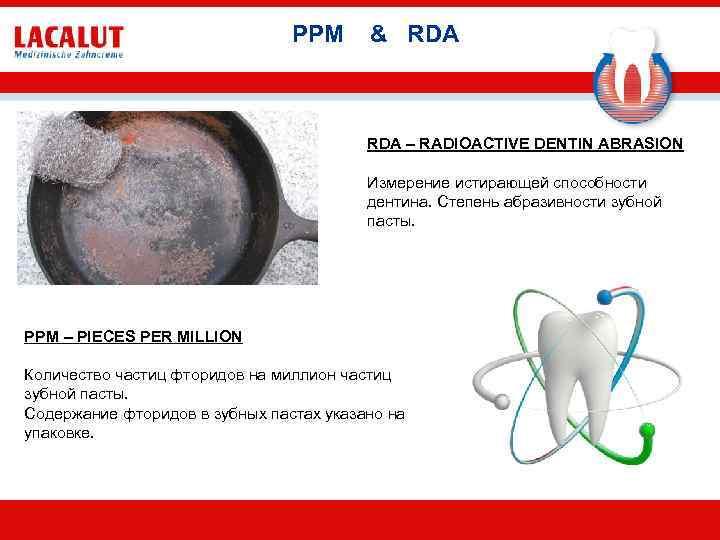 PPM & RDA – RADIOACTIVE DENTIN ABRASION Измерение истирающей способности дентина. Степень абразивности зубной