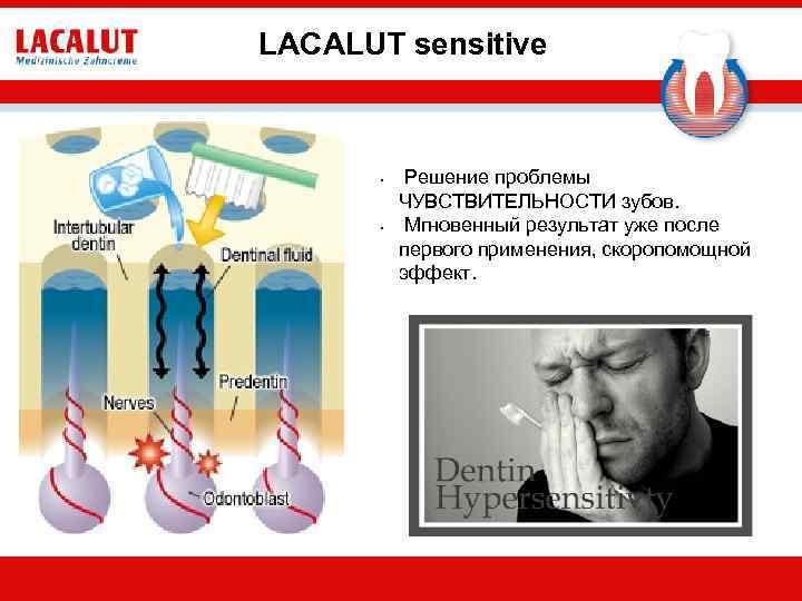 LACALUT sensitive • • Решение проблемы ЧУВСТВИТЕЛЬНОСТИ зубов. Мгновенный результат уже после первого применения,