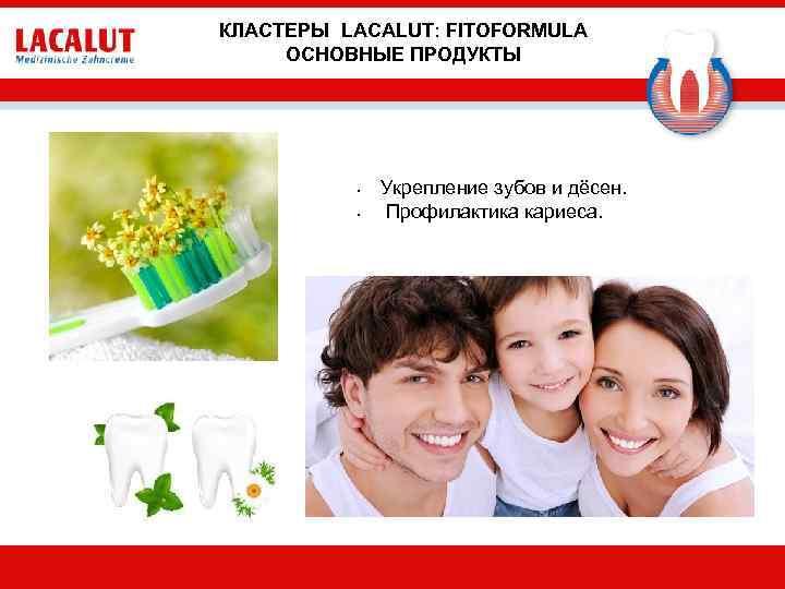 КЛАСТЕРЫ LACALUT: FITOFORMULA ОСНОВНЫЕ ПРОДУКТЫ • • Укрепление зубов и дёсен. Профилактика кариеса.