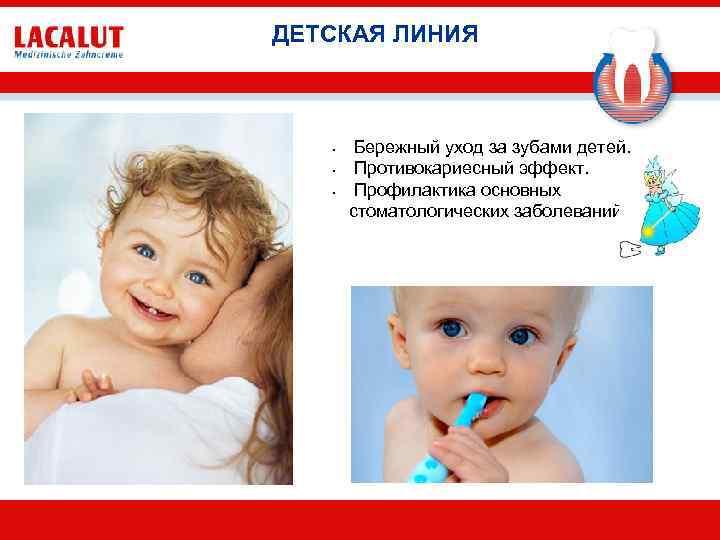 ДЕТСКАЯ ЛИНИЯ • • • Бережный уход за зубами детей. Противокариесный эффект. Профилактика основных