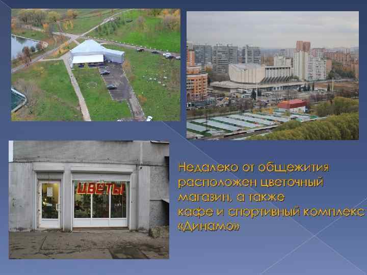 Недалеко от общежития расположен цветочный магазин, а также кафе и спортивный комплекс «Динамо»