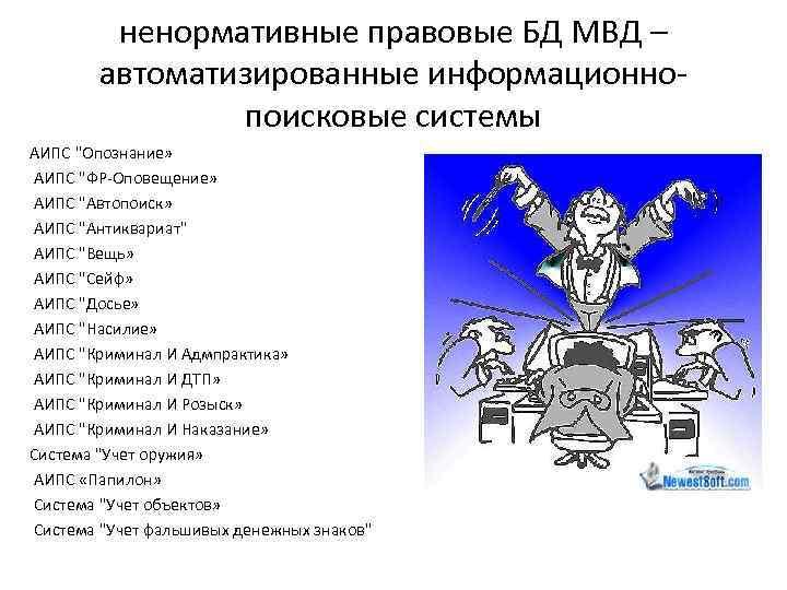 ненормативные правовые БД МВД – автоматизированные информационнопоисковые системы АИПС