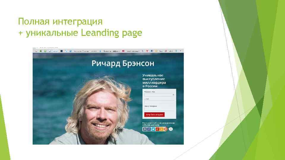 Полная интеграция + уникальные Leanding page