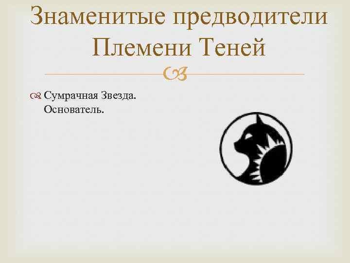 Знаменитые предводители Племени Теней Сумрачная Звезда. Основатель.