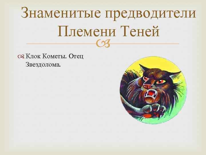 Знаменитые предводители Племени Теней Клок Кометы. Отец Звездолома.