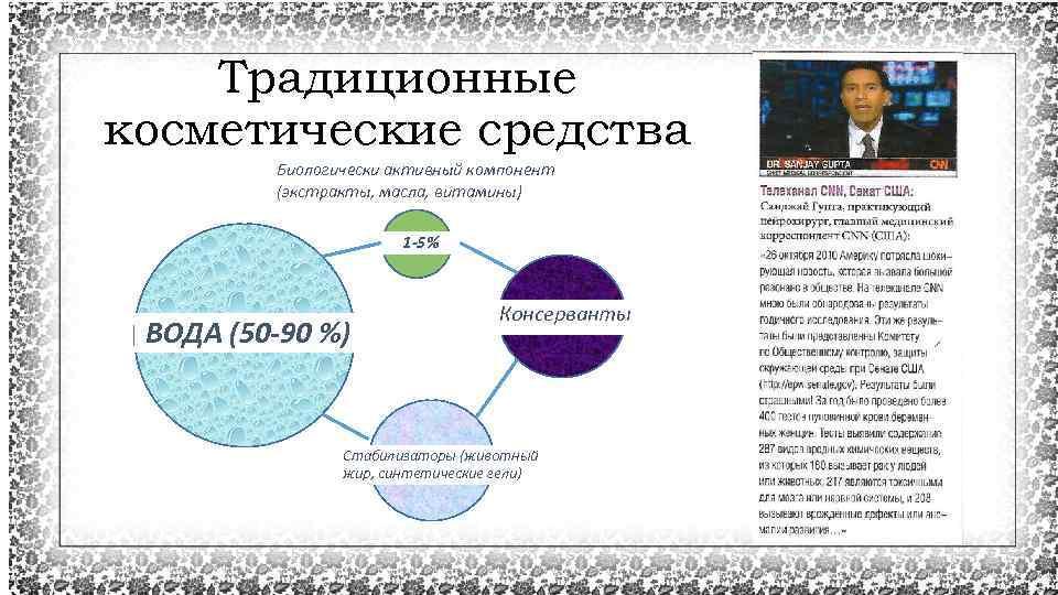 Традиционные косметические средства Биологически активный компонент (экстракты, масла, витамины) 1 -5% ВОДА (50 -90