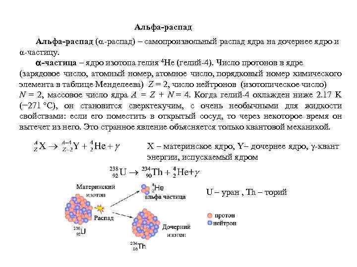 Альфа-распад ( -распад) – самопроизвольный распад ядра на дочернее ядро и α-частицу. -частица –