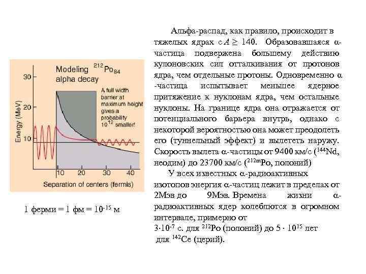 1 ферми = 1 фм = 10 -15 м Альфа-распад, как правило, происходит в