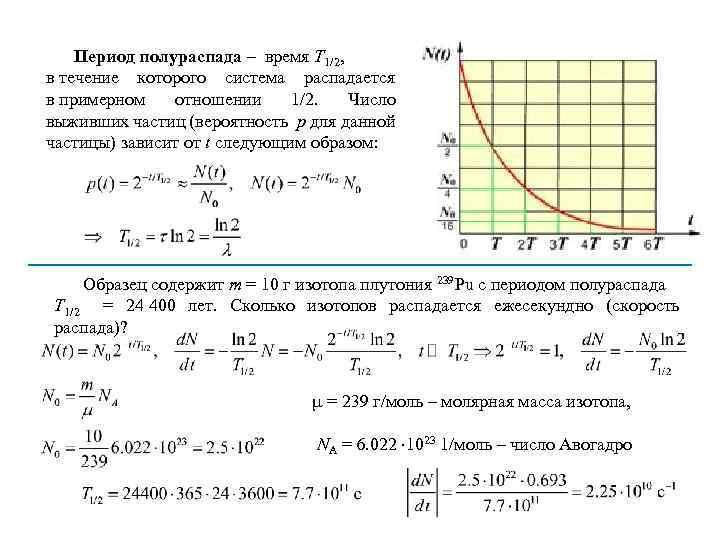 Период полураспада – время T 1/2, в течение которого система распадается в примерном отношении
