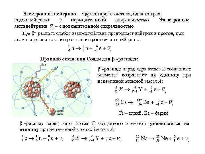 Электронное нейтрино – элементарная частица, одна из трех видов нейтрино, с отрицательной спиральностью. Электронное